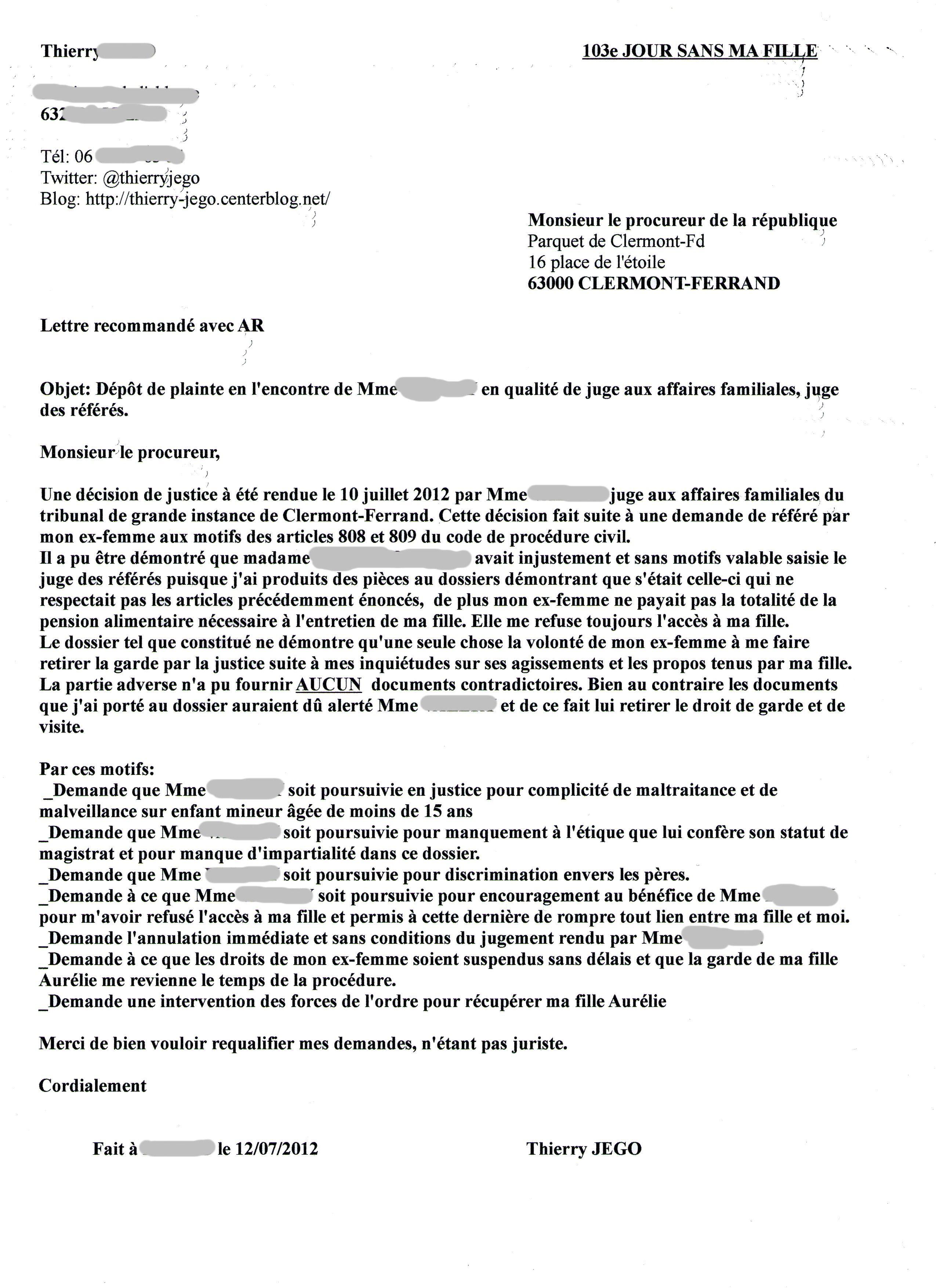 Lettre au procureur 12 07 2012 - Lettre de plainte pour nuisances sonores ...